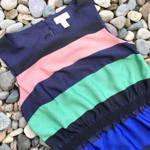 Loft Sleeveless Navy Blue Multicolor Stripe Dress